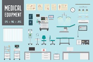 Set of Medical equipment and objects