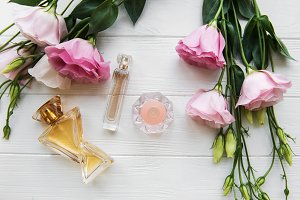 perfume bottles with flowers