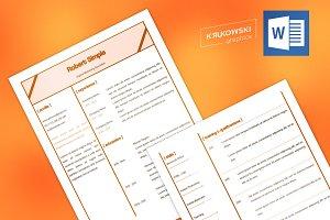 Simple Resume CV MS Word Template