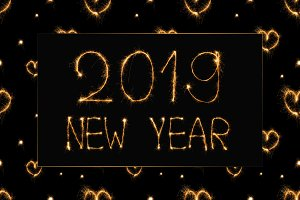 2019 new year light lettering and he