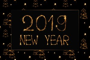 2019 new year light lettering and li