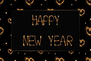 close up view of happy new year ligh