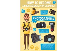 Photographer, camera and equipment