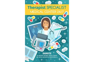 Therapist doctor and medical clinic