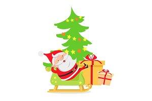 Santa Claus in Sleigh near Decorated