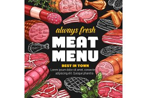 Butcher shop meat sausages menu