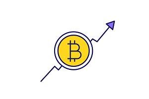 Bitcoin market growth chart icon