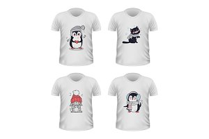 T-shirt Front View with Animals