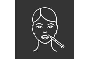 Lips neurotoxin injection chalk icon