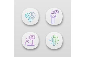 Business management app icons set