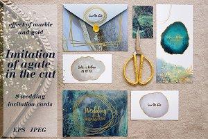wedding invitation. agate, marble