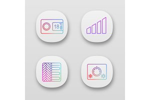 Air conditioning app icons set
