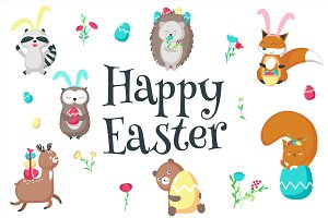 Easter animals set and pattern
