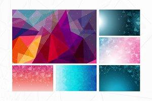 6 Lowpoly Geometric Background Set