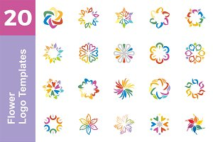 20 Logo Flower Templates Bundle