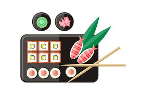 Japanese Food Illustration in Flat