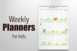 Kids weekly planners with animals
