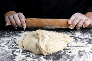 white wheat flour round dough