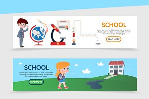 Flat education horizontal banners
