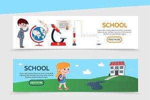 Flat education horizontal banners