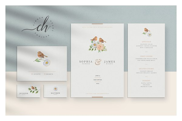 Invitation Templates: Cinderheart Designs - Beryl • Wedding Invitation Suite