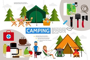 Flat camping infographic concept
