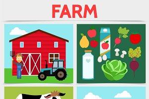 Flat colorful farming concept