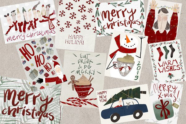 Card Templates: GEcreates - Pack of 12 Christmas Cards