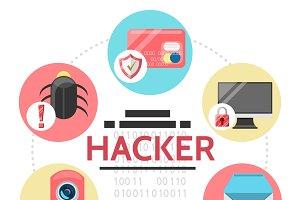 Flat hacker activity round concept