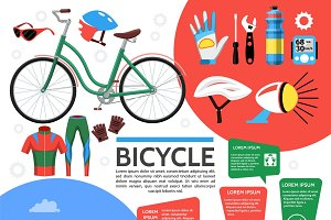 Flat colorful bicycle poster