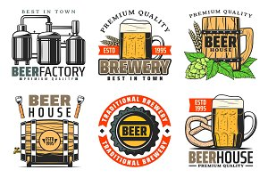 Brewery factory, quality beer icons