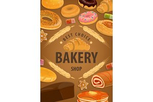 Bakery shop cakes, pastry, desserts
