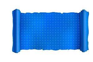 Blue scroll with engineering marks