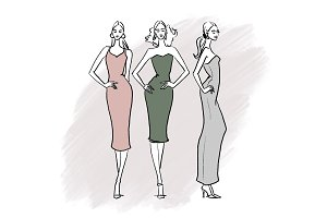 Set of three fashion illustrations