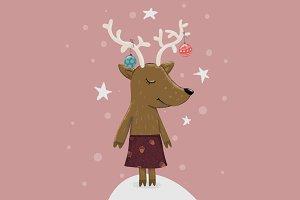 Reindeer Rosi X-Mas Illustration