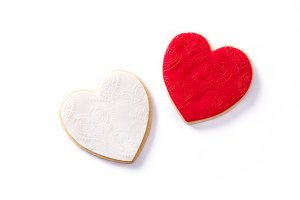 White and red heart-shaped cookies