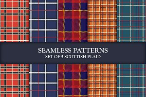 5 Seamless Patterns Scottish Plaids