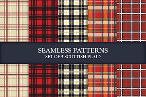 5 Seamless Vector Pattern Plaids