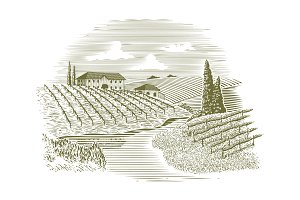 Woodcut Vineyard and Stream