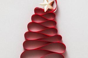 christmas tree made from ribbon
