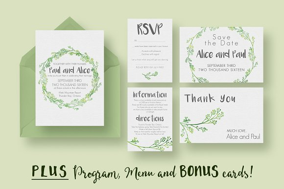 Hip Wedding Invitation Suite Invitation Templates Creative Market - Wedding invitation templates: wedding invitation suite templates