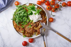 Tortilla omelette with sliced potato