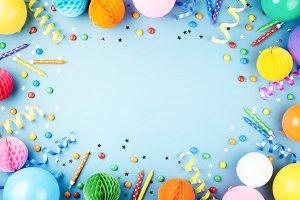 Blue birthday party background.