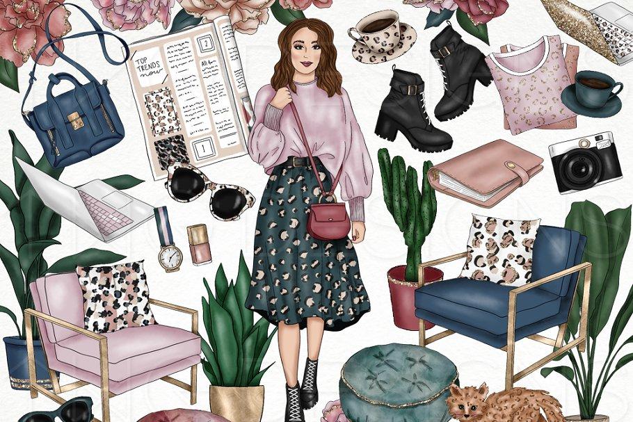 Leopard Style Fashion Girl Clip Art
