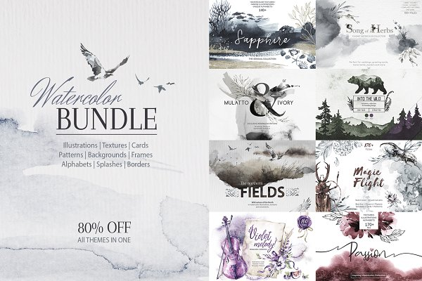 80% Off. Watercolor Bundle. 9 in 1