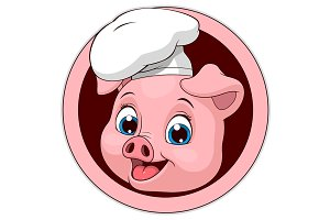 Funny funny pig-cook