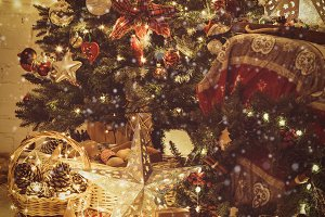 Christmas interior, fireplace lights