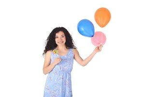 Beautiful Woman with sweet lollipop