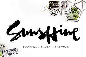 Sunshine,Brush Font withAlternatives