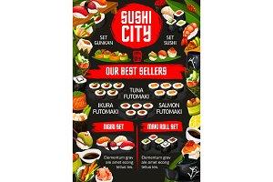 Japanese sushi bar, dishes menu